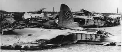 Damaged aircraft at Cowley